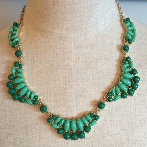 J. Crew Factory Green and Gold Scallop Necklace
